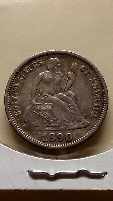 1890 seated dime shattered reverse