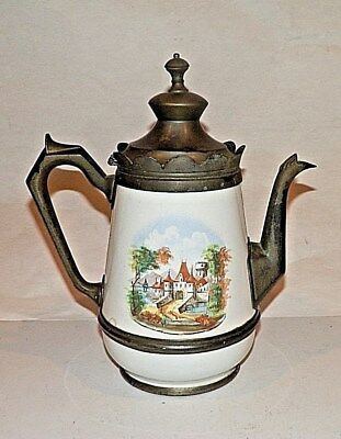 Antique Pewter And Enamel Graniteware Teapot Coffee Pot Country Castle Scene