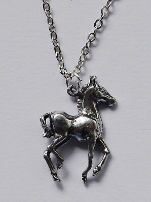 Chain Necklace #242 Pewter LITTLE HORSE (20mm x 15mm) SILVER TONE PONY