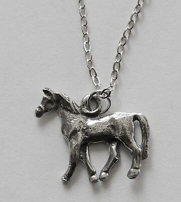 Chain Necklace #281 Pewter LITTLE HORSE (20mm x 16mm) SILVER TONE PONY