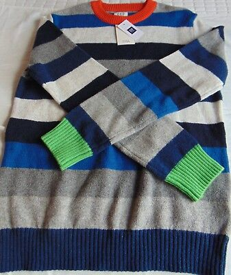 Gap Kids Boys M 8 Blue Multi-Colored Stripped Pull Over Sweater New with Tags