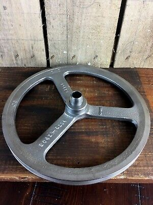 "Vintage Cast iron 10"" Pulley Wheel, Industrial, Threaded Steampunk Parts"