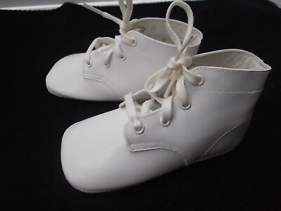 vintage Mrs Days Ideal white lace up baby high top shoes 5in long NEW