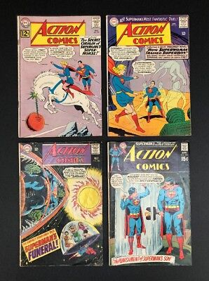 Lot Of (4) Action Comics #293, 332, 365, 391 Superman DC Comics Silver Age