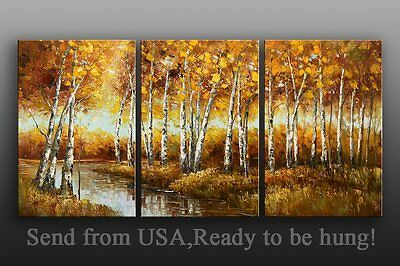 Landscape Oil Painting On Canvas palette knife hand painted Maple Framed -Last 1
