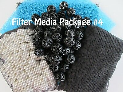 Aquarium External Canister Filter MEDIA KIT #4 Sponge Carbon Noodles Bio Balls