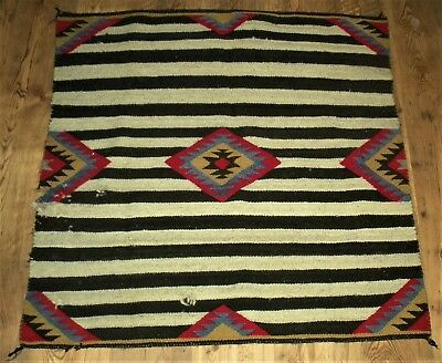 ANTIQUE c1930 3RD PHASE NAVAJO NATIVE AMERICAN INDIAN BLACK WHITE CHIEF RUG vafo
