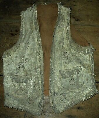 ANTIQUE c. 1880 CHILDS FRINGED TANNED DEER HIDE VEST SEWN COWBOY DECORATION vafo