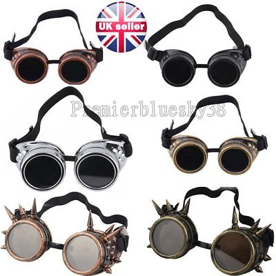 Welding Vintage Retro Cyber Goggles Steampunk nail Glasses Punk Gothic VictoriWK
