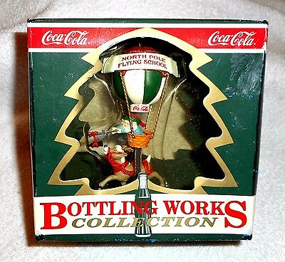 Coca Cola Ornament Bottling Works Collection 1995 Elf Reindeer Hot Air Balloon