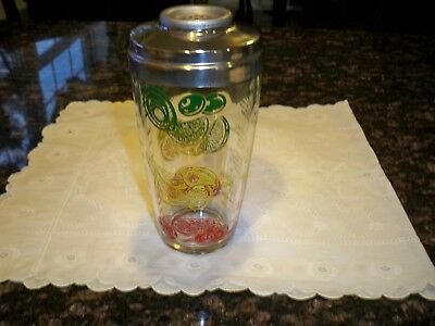 Vintage Glass Cocktail Shaker with Aluminum Lid