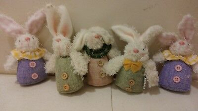 "Gerson Mission Gallery 6"" tall Plush Easter bunnies Burlap rabbit set of 5 lot B"
