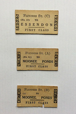 Victorian Railways Tickets - Three from 1939 from Flinders A, B and C