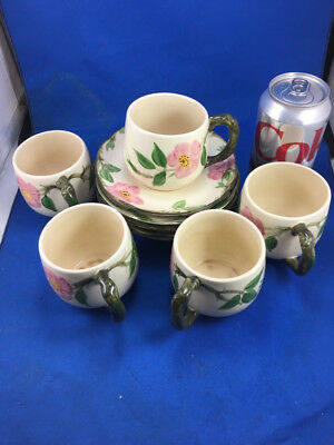 Franciscan Desert Rose  5 Small Mugs with Saucers