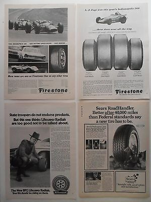 Lot of 20 TIRES Magazine Print Ads ~ Firestone BF Goodrich Bridgestone Dunlop ++