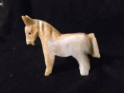 Carved Stone Brown & White Blend Horse Figurine Standing Collectible 951F