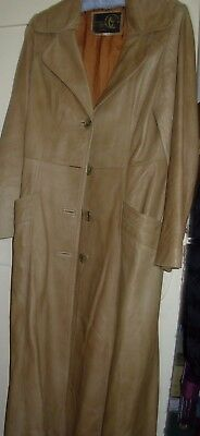 Genuine 1970's vintage Tan Ladies Leather Coat Size 12