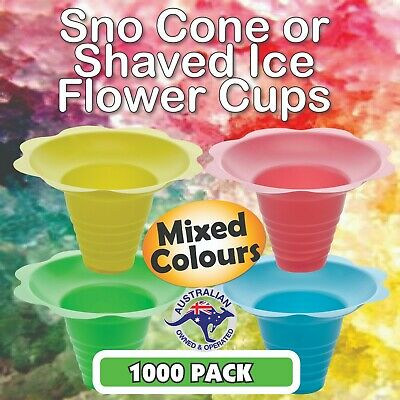 Snow Cone Flower Cups 1000 Pack in 4 x MIXED COLOURS - 250MLS - SHAVED ICE, SNO