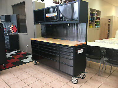 Black tinted Stainless Steel Garage Workshop Workbench System Cabinet Drawers