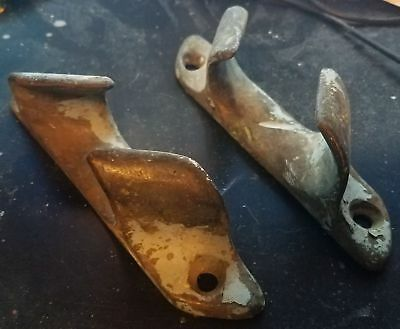 """Pair (two) 6 1/4""""  Vintage Bronze Brass CHOCKS Cleat Boat Dock Sailboat"""