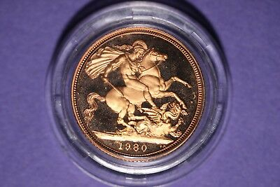 1980 Great Britain One Sovereign Gold ( .916 ) Proof coin Elizabeth II