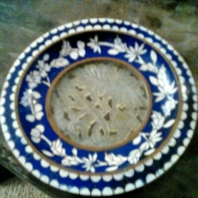 Antique Chinese Cloisonne Small Dish or Plate Carved Jade Center Blue Floral