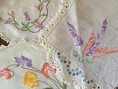 Lot of 3 Pretty Pink & Mauve Vintage Linen Embroidered Large Doilies Craft, Use