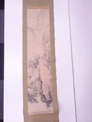 78968# Japanese Wall Hanging Scroll / Hand Painted / Sansui (Landscape)