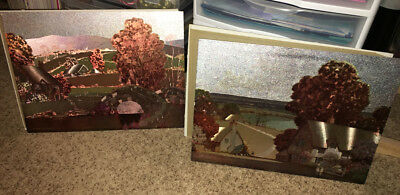 Vintage Antique Pair of 12x16 Metallic Art Paintings Countryside Bridge Village