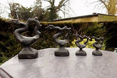 "Antique Bronze ""Opium"" Weights/Paperweights  In Bird Form x 4 - Burmese"