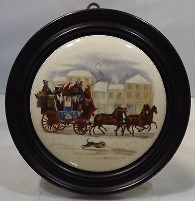 Antique Victorian Framed Pottery Pot Lid Featuring Horses & A Carriage
