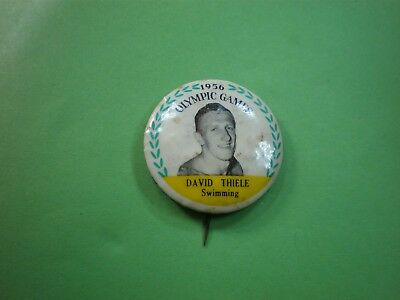 OLYMPIC GAMES 1956.MELB.DAVID THIELE SWIMMING TINNIE BADGE postage  FREE.