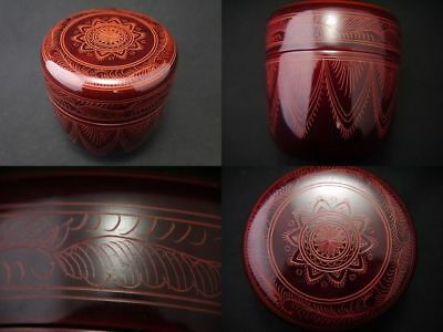Japan Traditional Lacquer Wooden Tea caddy Curved ELABORATE Design Natsume (206)