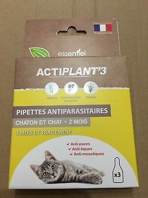 Pipettes Insectifuges Antiparasitaires Chat Actiplant'3