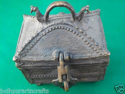 Antique Vintage Look Handcrafted Brass Trinket Jewelry Box Handle Locking Latch