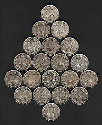 Malaya.  1941 10 Cents x 20 Coins.. Most with Lustre..  gVF - gEF/aUNC