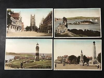 Vintage Photo Postcard x 4 PLYMOUTH St Andrews THE HOE Drakes Is SALMON SERIES