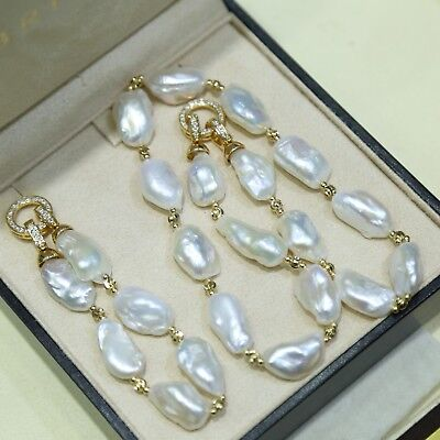 Natural White Baroque Freshwater Pearl Necklace and Bracelet High Quality