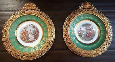 Pair Of Antique Victorian Courting Lovers Portrait Wall Plates Repousse frames