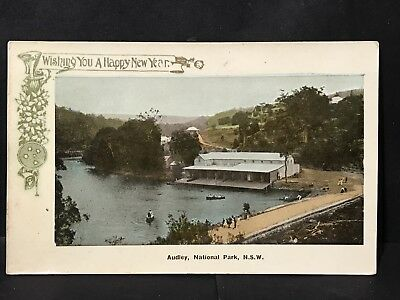 Antique Coloured Photo Postcard AUDLEY NATIONAL PARK, NSW Hapy New Year, CB & Co