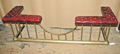 Large Antique Leather & Brass Fire Club Fender Curb Hearth Seat Surround