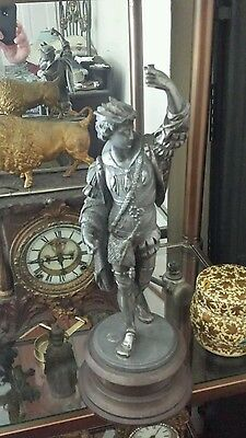Ansonia Fisherman Antique Swinger Clock Movement Holder Statue NOT REPRODUCTION