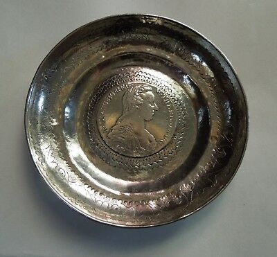 Antique Silver Small Dish with Maria Theresa 1780 Coin in Base