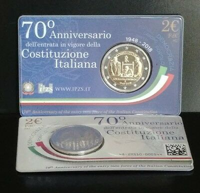 """2 Euros Italy 2018 """"70th Anniversary Constitution"""" Coin Card"""