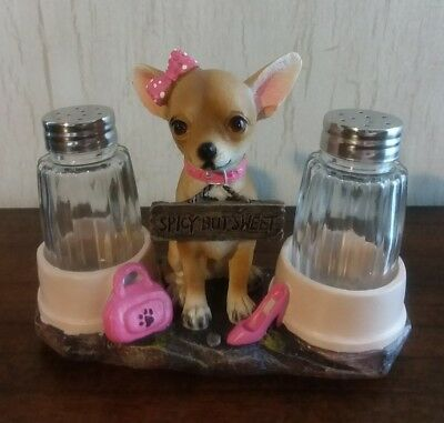 Haute and Spicy Chihuahua Salt and Pepper Shaker Holder Stand