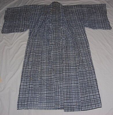 Vintage Japanese Mens Cotton Yukata Traditional Kimono Robe Blue White Check