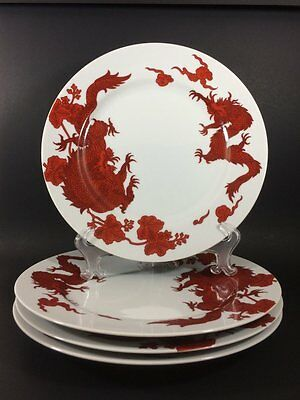 Fitz and Floyd Temple Dragon Dinner Plates Set of 4 EXCELLENT CONDITION