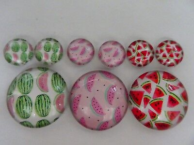 3 Sets Of 1 x 25mm & 2 x 12mm Glass Dome Cabochon - Assorted Watermelon Designs.