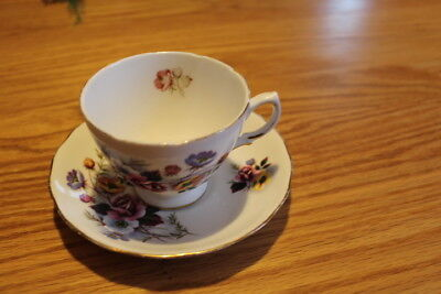 Vintage Royal Vale Red & Yellow Flowers Teacup and Saucer Set Bone China England