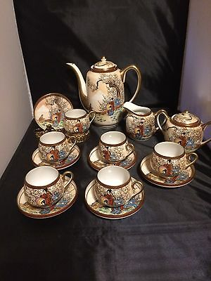 Marked Kutani Japanese Meiji Tea Set Eggshell Porcelain